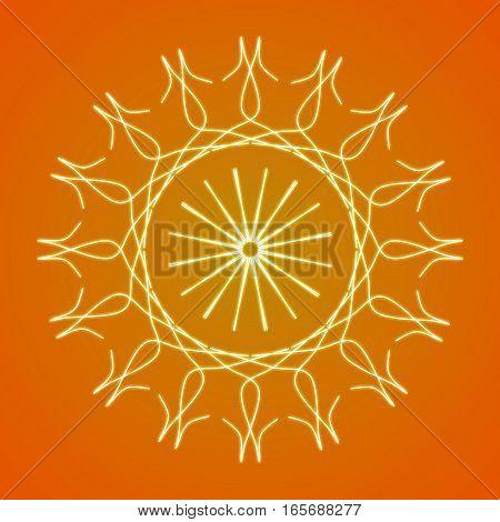 Simple white mandala spiritual circle on orange background.