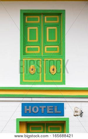 colourful colonial style wooden window in Salento Colombia
