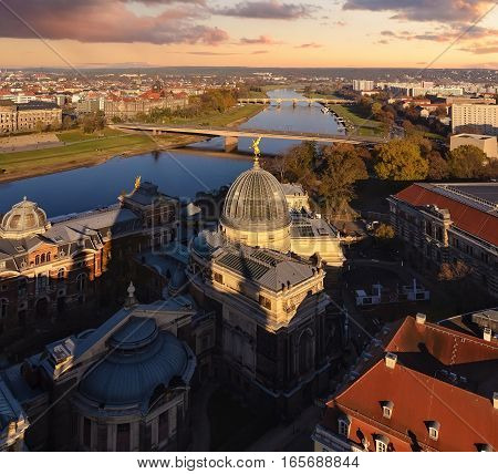 Panorama of Dresden cental part and Elbe river in sunset. Saxony Germany Europe.