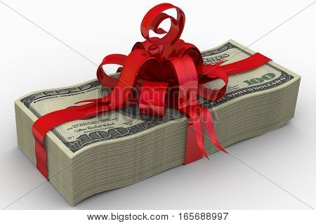 A stack of one hundred dollar bills tied with a red ribbon and bow. Isolated. 3D Illustration