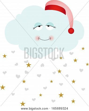 Scalable vectorial image representing a cute goodnight cloud, isolated on white.