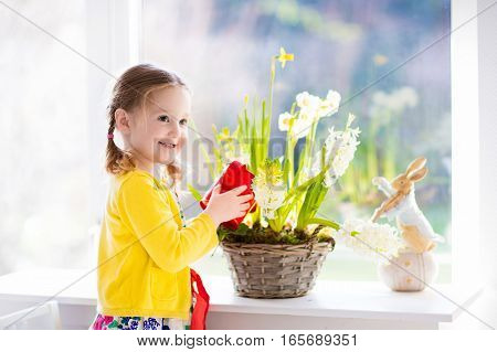 Cute girl watering first spring flowers. Easter home interior and decoration. Child taking care of plants. Kid with water can. Toddler with toy bunny. Little gardener with hyacinths and daffodils.