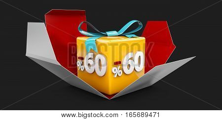3D Illustration Red Discount 60 Percent Off And In The Gray Box On Black Background.