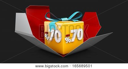 3D Illustration Red Discount 70 Percent Off And In The Gray Box On Black Background.