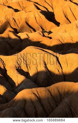 closeup details of the geology of the Tatacoa desert in Colombia