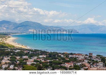 View Above Sperlonga And Sea