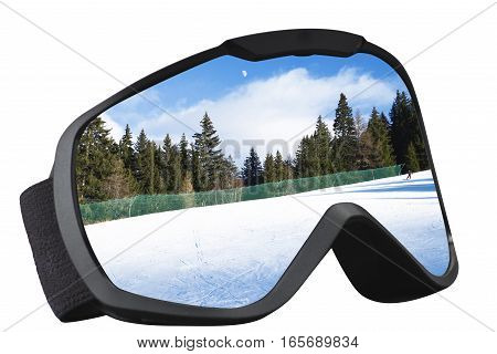 skier mask with reflection of the ski