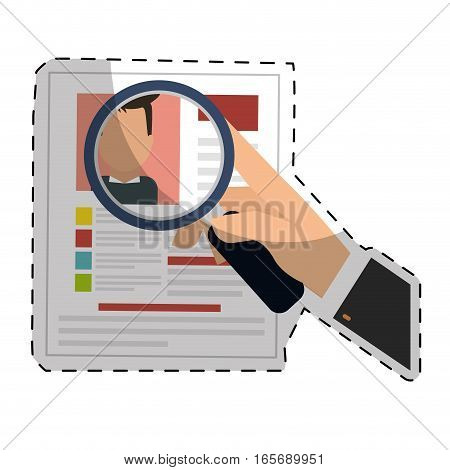 hand with magnifying glass and curriculum vitae page over white background. human resources concept. colorful design. vector illustration