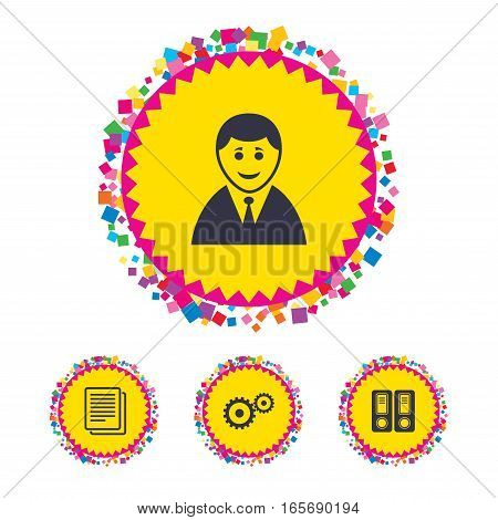 Web buttons with confetti pieces. Accounting workflow icons. Human silhouette, cogwheel gear and documents folders signs symbols. Bright stylish design. Vector