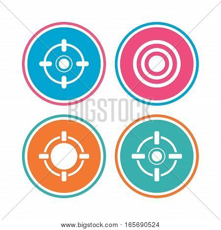 Crosshair icons. Target aim signs symbols. Weapon gun sights for shooting range. Colored circle buttons. Vector