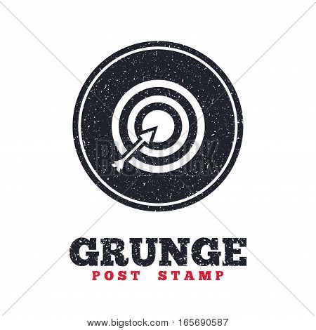 Grunge post stamp. Circle banner or label. Target aim sign icon. Darts board with arrow symbol. Dirty textured web button. Vector
