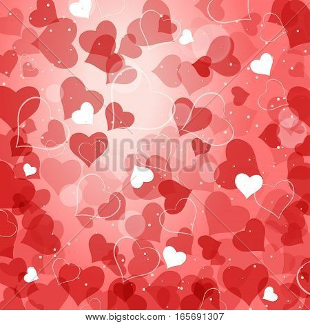 Vector abstract red background with heart silhouettes and radiance.