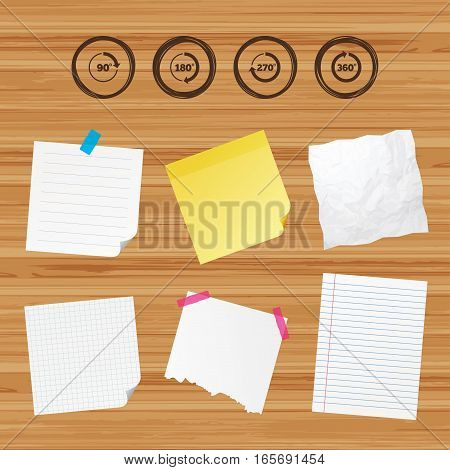 Business paper banners with notes. Angle 45-360 degrees circle icons. Geometry math signs symbols. Full complete rotation arrow. Sticky colorful tape. Vector