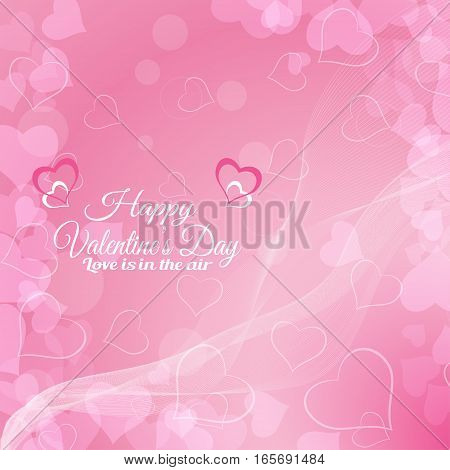 Vector Happy Valentine's Day background with pink hearts radiance and waves.