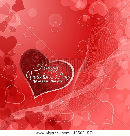 Vector Happy Valentine's Day background with red heart radiance and waves.