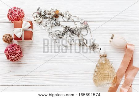 Luxury Expensive Jewelry And Stylish Present Box On White Rustic Wooden Background. Happy Valentine