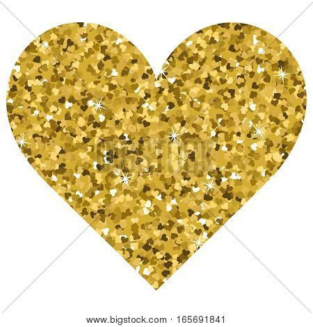 Glitter Valentines Day love heart on a white background. Vector illustration. Beautiful design element for t-shirt design save the date wedding invitations.