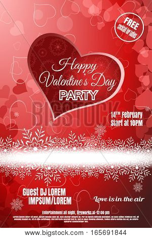 Vector Happy Valentine's Day night party poster on the gradient red background with hearts and snowflakes.