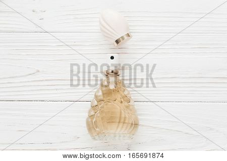 Luxury Expensive Perfume Essentials Flat Lay On White Rustic Wooden Table In Soft Morning Light. Spa