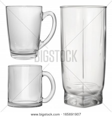 Two Opaque Glass Cups And One Glass For Juice