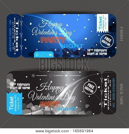 Vector Happy Valentine's Day night party ticket on the dark blue and gray gradient background with hearts and wave.