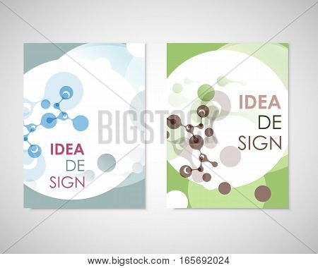 Connect vector templates for brochure, flyer, cover magazine or annual report. Molecule structure and communication.