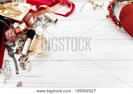 Fashion Set Flat Lay With Space For Text. Luxury Essentials Jewelry Perfume Presents On White Rustic