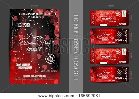 Vector Happy Valentine's Day night party promotional bundle of dark red poster and tickets with hearts on the dark gray background.
