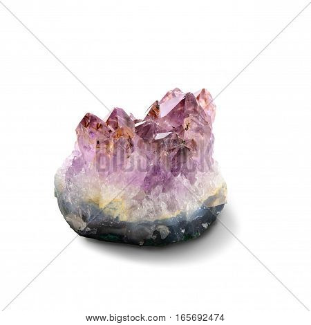 Amethyst stone crystal isolated on white background. Clipping path included.