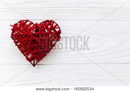Stylish Red Heart  Flat Lay On White Wooden Background. Happy Valentines Day Concept. Greeting Card