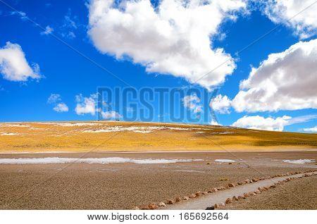 Landscape and small path in Chile near San Pedro de Atacama