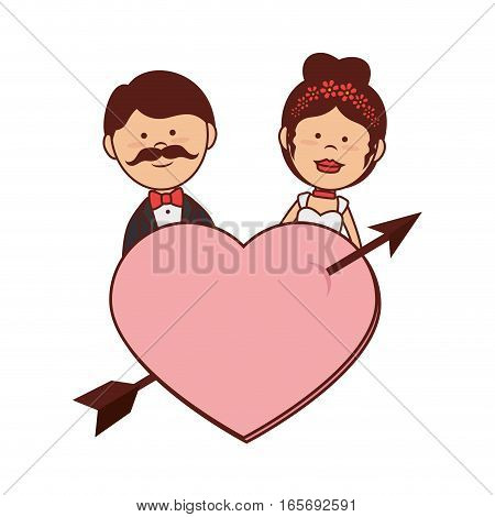 just married couple card vector illustration design