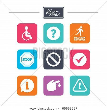 Attention caution icons. Question mark and information signs. Injury and disabled person symbols. Colorful flat square buttons with icons. Vector
