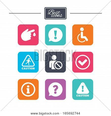 Caution and attention icons. Question mark and information signs. Injury and disabled person symbols. Colorful flat square buttons with icons. Vector