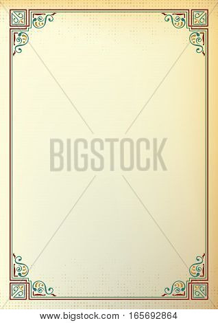 Ornate rectangular frame, color background. Page decoration, corners. A4 page proportions.