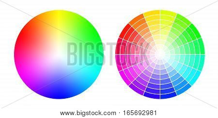 Color wheels. Vector colored wheels (RGB palette). Created using gradient meshes and simple radial sectors