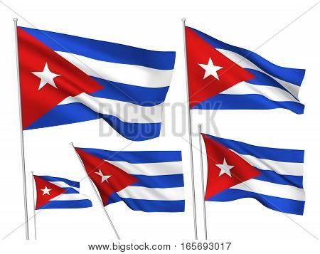 Cuba vector flags. A set of 5 wavy 3D flags created using gradient meshes