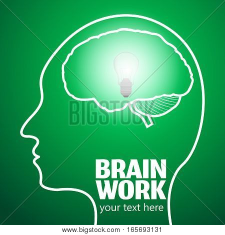 Human Brain Logo, Neurology Anatomical Conception.Cerebrum and Cerebellum w Medical Logo Brain Work.Mind Thoughts shines like thought bulb in human head logo silhouette on green luminous background