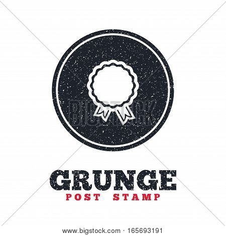 Grunge post stamp. Circle banner or label. Award icon. Best guarantee symbol. Winner achievement sign. Dirty textured web button. Vector