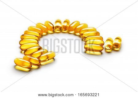 Omega-3 capsules - letter shape isolated on white background. Close up copy space high resolution product. Health care concept