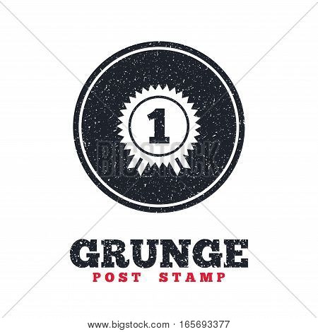 Grunge post stamp. Circle banner or label. First place award sign icon. Prize for winner symbol. Dirty textured web button. Vector