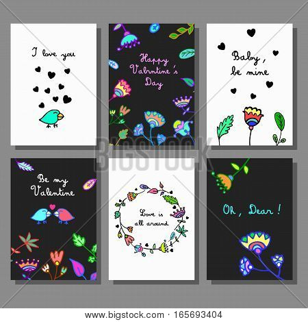 Valentine`s Day creative artistic cards set. Doodle style. Vector illustration. Wedding, love, romantic template