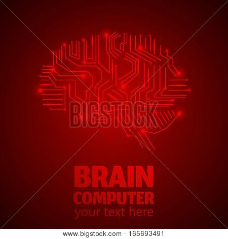 Human Brain Logo in form of Electronic brain computer, Neurology Conception.Silicon chips in form of Cerebrum and Cerebellum with mind thoughts shines, text Brain Computer on red luminous background