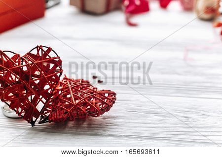 Stylish Hearts On White Wooden Background. Happy Valentines Day Concept. Greeting Card With Space Fo