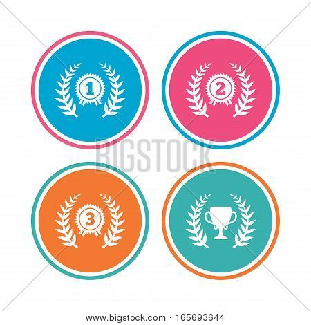 Laurel wreath award icons. Prize cup for winner signs. First, second and third place medals symbols. Colored circle buttons. Vector