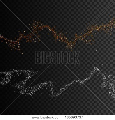 Gold and silver glittering star dust trail sparkling particles on transparent background, Vector illustration