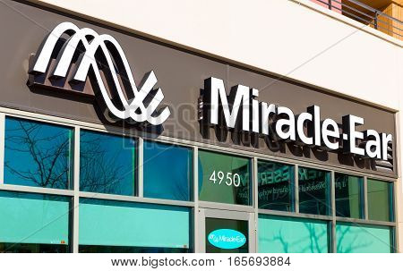 MINNEAPOLIS MN/USA - JANUARY 14 2017: Miracle-Ear retail store exterior and sign. Miracle-Ear Inc. is a hearing aid company consisting of a network of franchised and corporately-owned retail outlets.