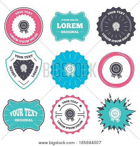 Label and badge templates. Award smile icon. Happy face medal symbol. Retro style banners, emblems. Vector