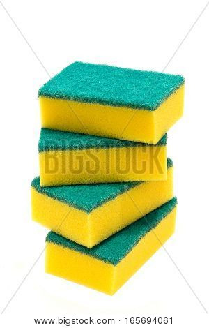 Kitchen sponges for washing dishes isolated on white background