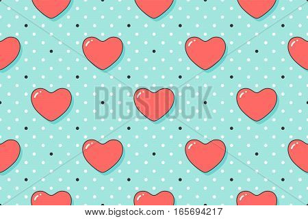 Seamless pattern with red hearts for Valentine Day, Lovers Day or wedding. Hand drawn design for love related themes for wrapping paper, wallpaper, background, greeting card. Vector Illustration